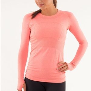 Lululemon Swiftly Tech Long Sleeve Top in Peach